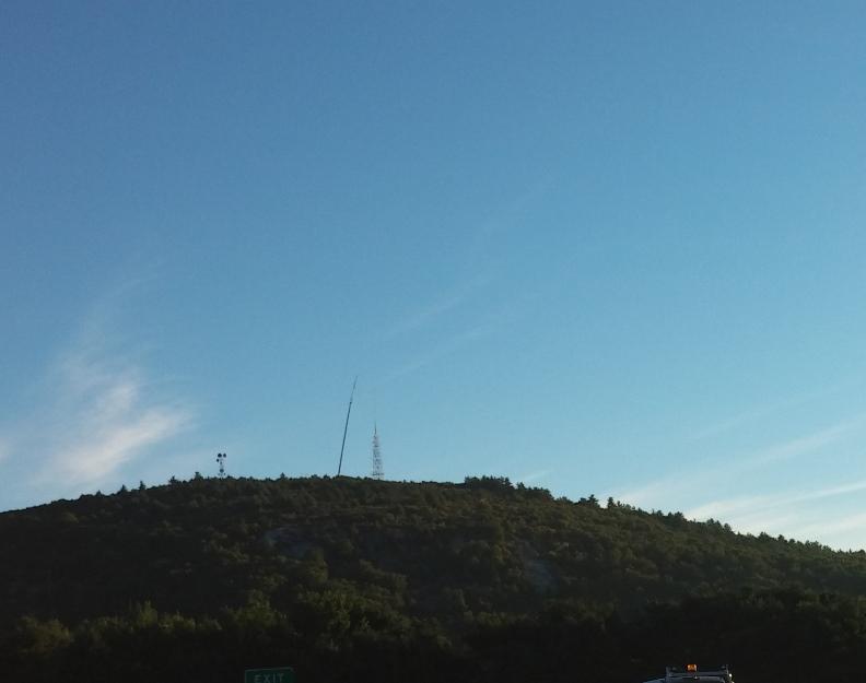 WGBH-FM crane setup to replace antenna and pole.