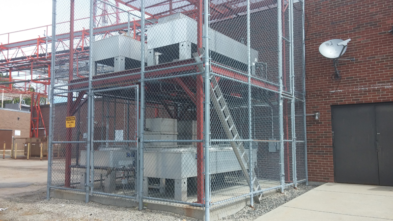 Transmitter heat exchangers mounted outside.