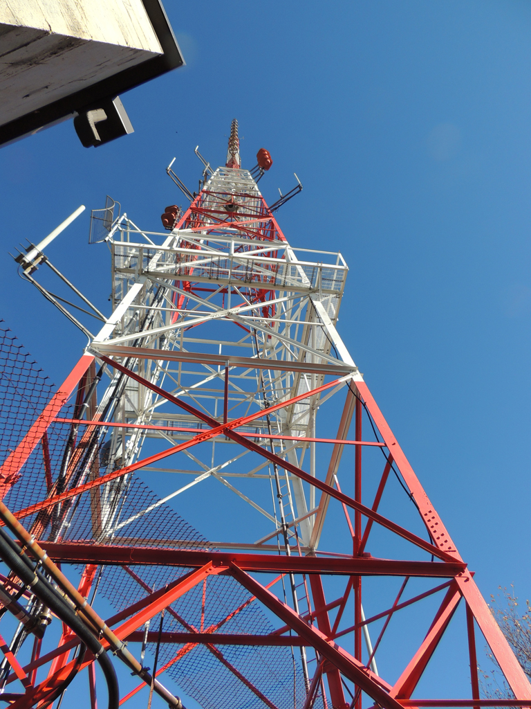 WGBH with new antenna and mast on Great Blue Hill in Milton, MA.