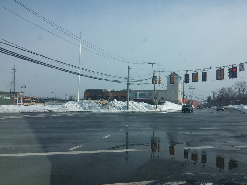 This is in Dedham , on Route 1 at Legacy Place. You can't even make out the 8' sign for the place.