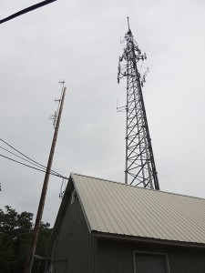 The new tower with the pole for the future FM. Plus the standby antennas.