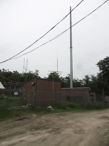 W266AW's temporary comet antenna used to keep the station on the air.