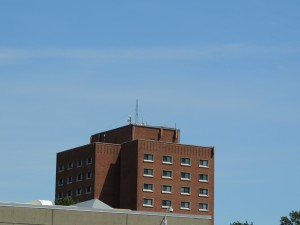 McVinney Hall with the new WDOM antenna.