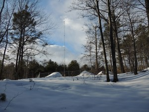 WMVX hidden in the woods near Endicott College in Beverly.