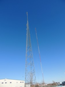 WCTK's new 600 foot self supporting tower next to the old guyed tower.