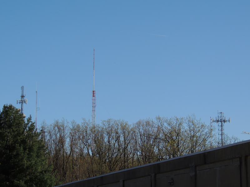 The WYCR and WGTY towers off in the distance. WGTY is just left of the cell tower. You can also see the roof of the long lines building!